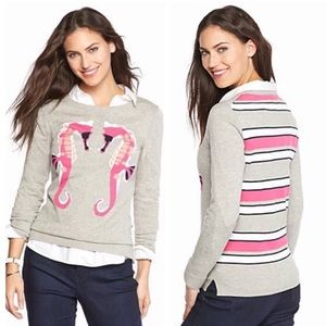Crown & Ivy seahorses cotton sweater gray pink